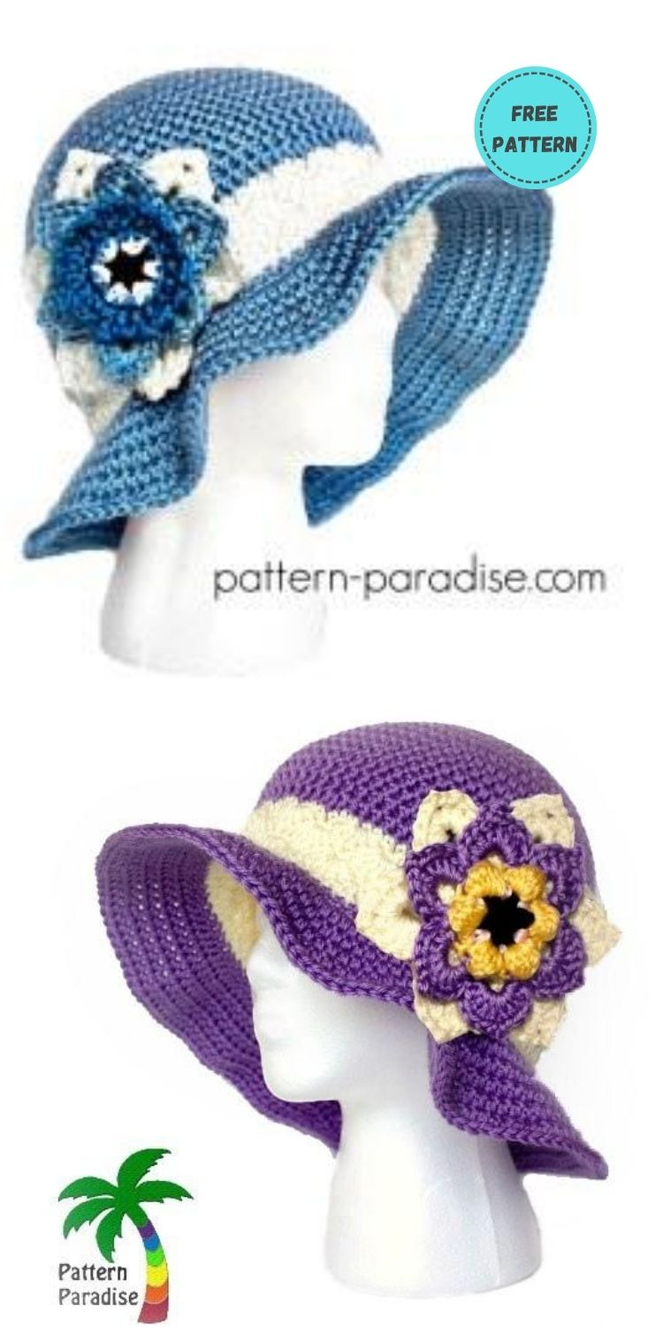 22 Free Crochet Summer Hats To Make This Year PIN POSTER 5