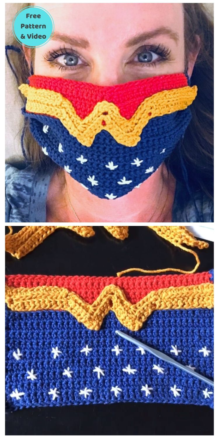 22 Free Face Mask Crochet Patterns For Adults PIN POSTER 12