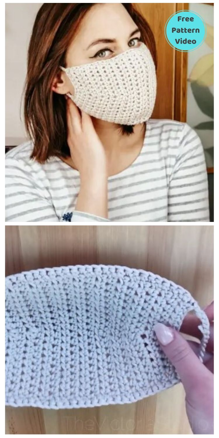 22 Free Face Mask Crochet Patterns For Adults PIN POSTER 13