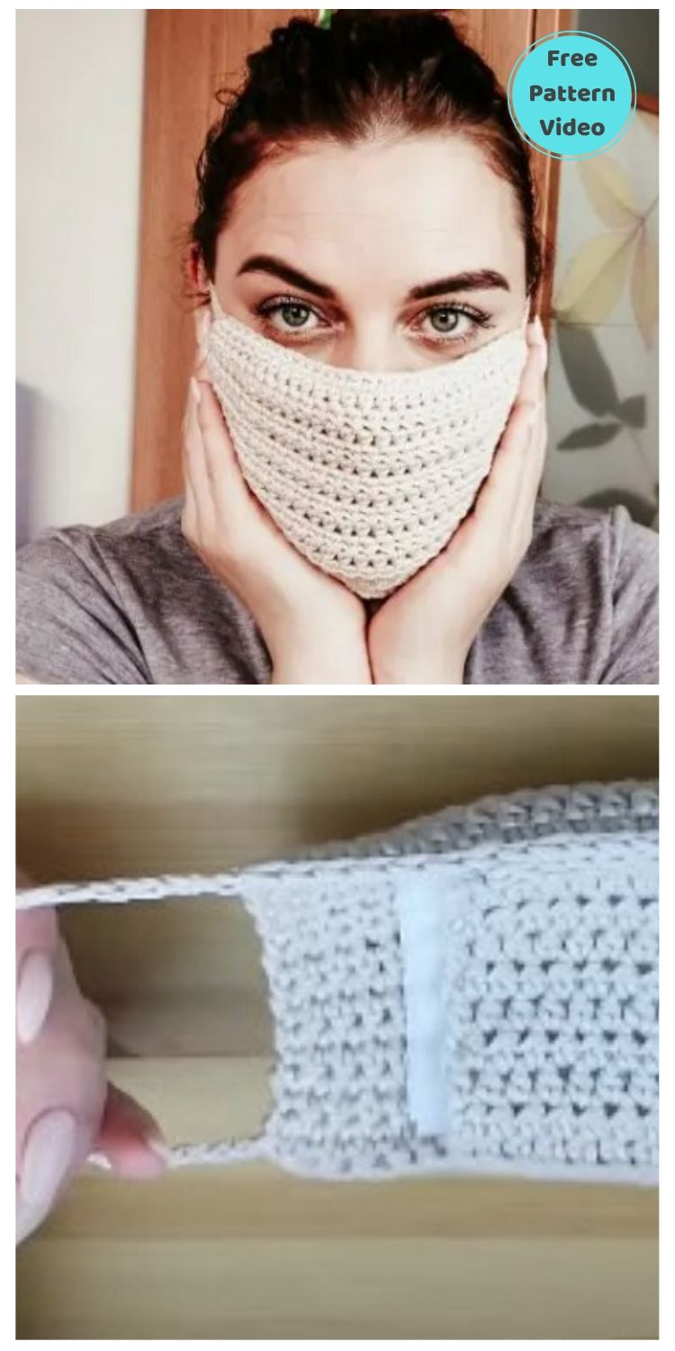 22 Free Face Mask Crochet Patterns For Adults PIN POSTER 14