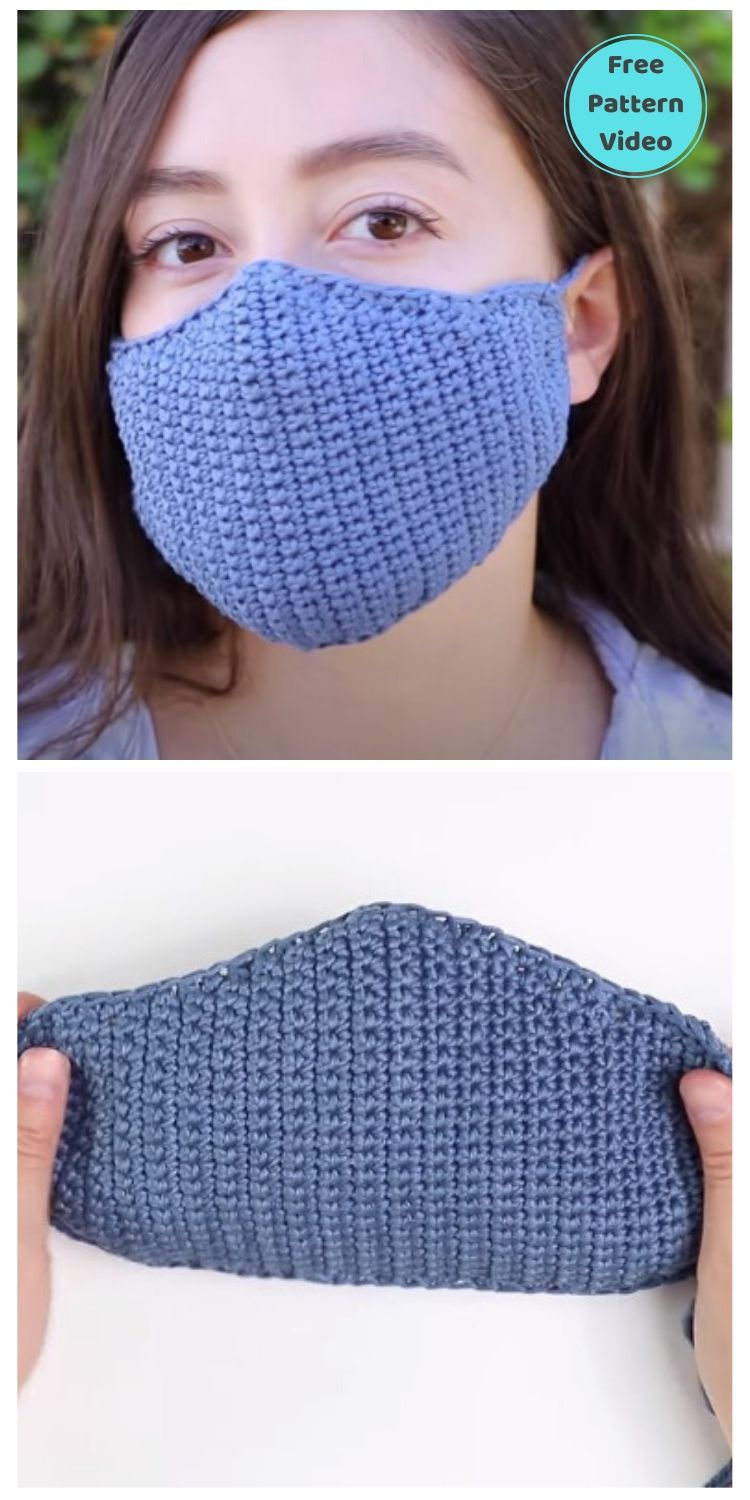22 Free Face Mask Crochet Patterns For Adults PIN POSTER 15