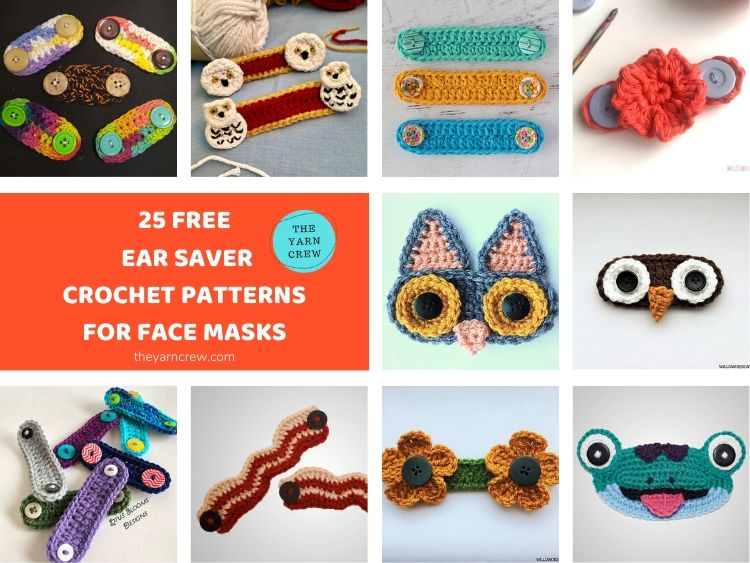 25 Free Ear Saver Crochet Patterns For Face Masks FACEBOOK POSTER