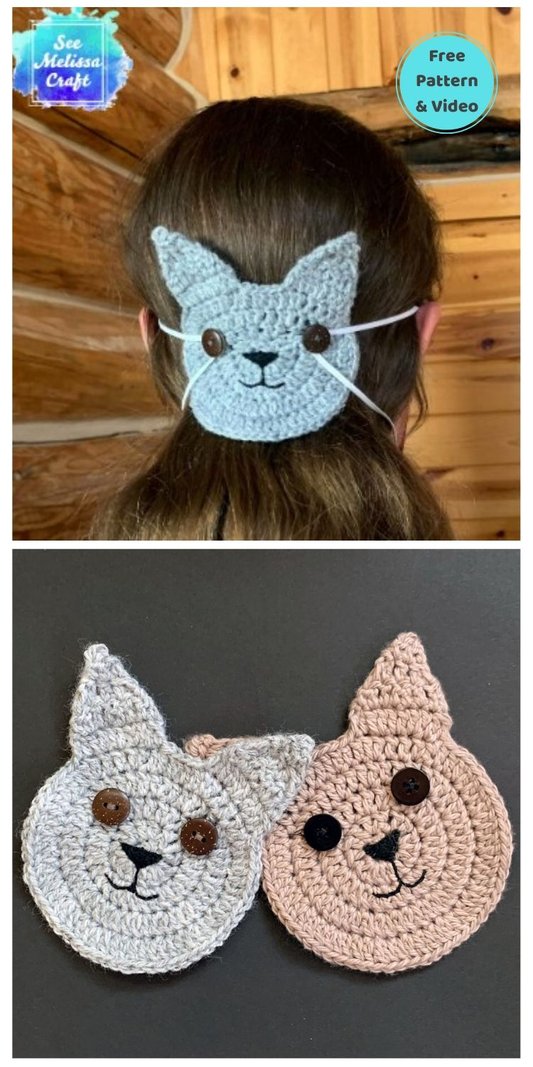 25 Free Ear Saver Crochet Patterns For Face Masks PIN POSTER 1