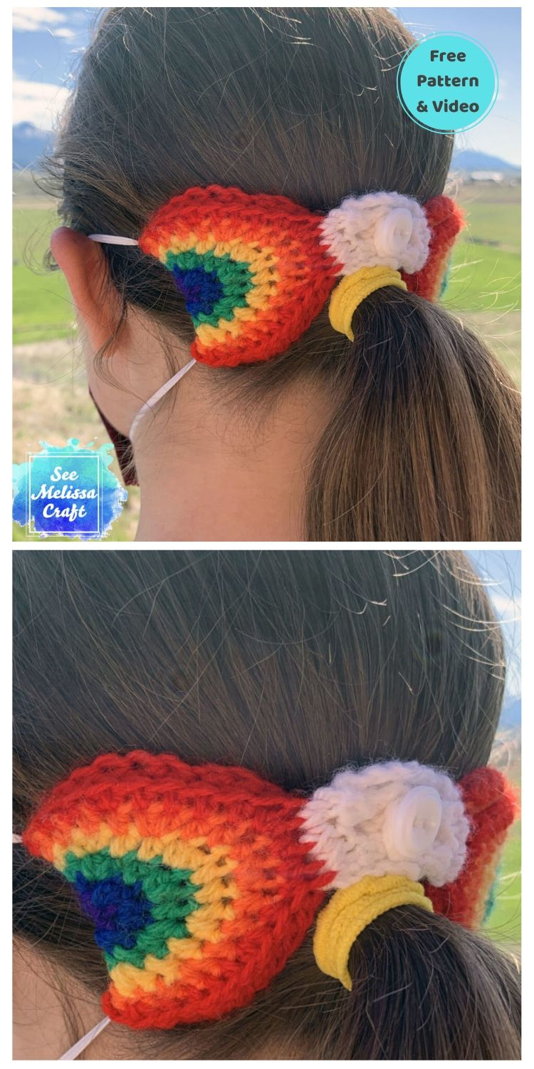 25 Free Ear Saver Crochet Patterns For Face Masks PIN POSTER 2