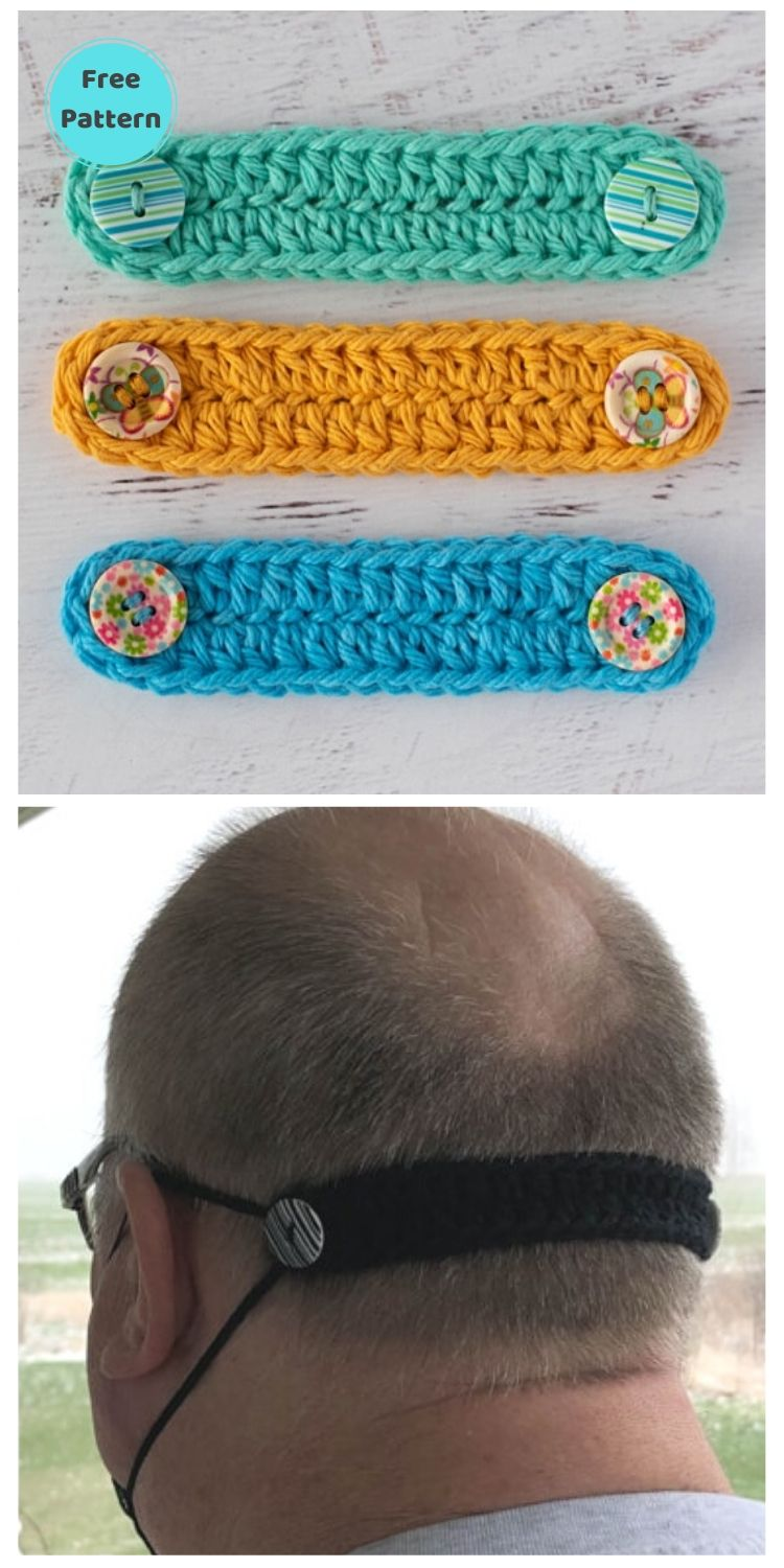 25 Free Ear Saver Crochet Patterns For Face Masks PIN POSTER 3