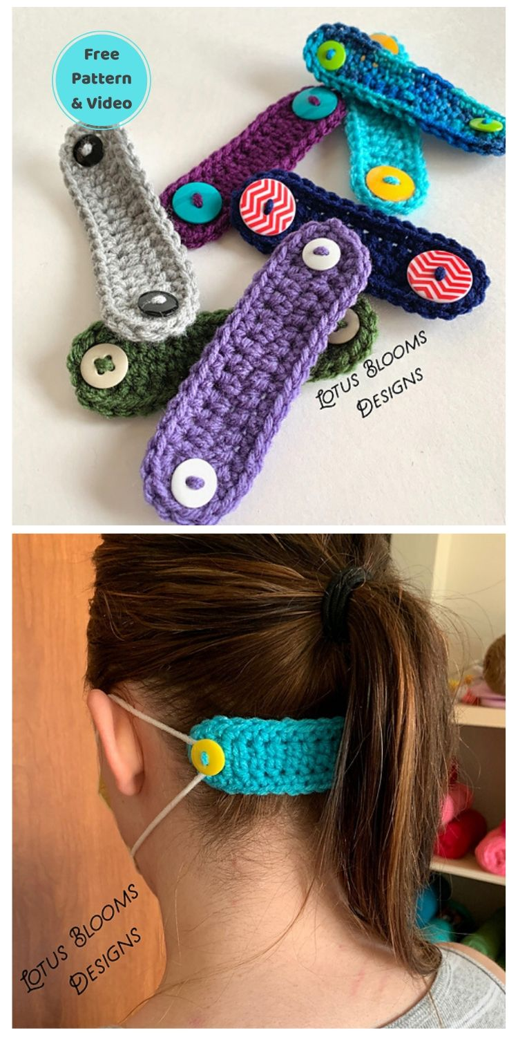 25 Free Ear Saver Crochet Patterns For Face Masks PIN POSTER 7