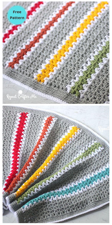 Best 19 Free Rainbow Blanket Crochet Patterns PIN POSTER 1