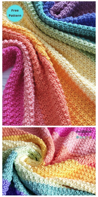 Best 19 Free Rainbow Blanket Crochet Patterns PIN POSTER 12