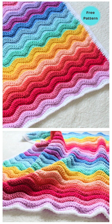 Best 19 Free Rainbow Blanket Crochet Patterns PIN POSTER 19