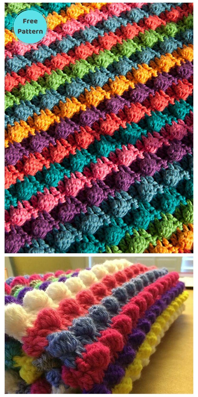 Best 19 Free Rainbow Blanket Crochet Patterns PIN POSTER 5
