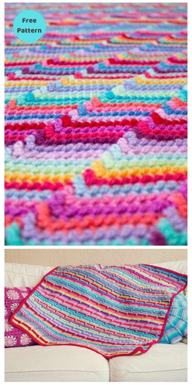 Best 19 Free Rainbow Blanket Crochet Patterns PIN POSTER 8
