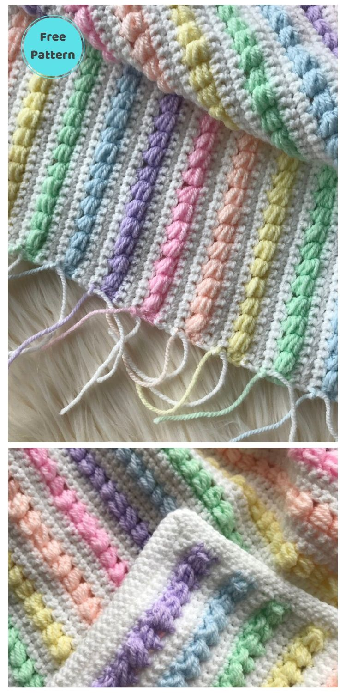 Best 19 Free Rainbow Blanket Crochet Patterns PIN POSTER 9