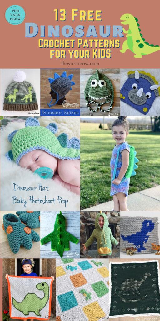 13 Free Dinosau13 Free Dinosaur Crochet Patterns For Your Kids - PIN2r Crochet Patterns For Your Kids