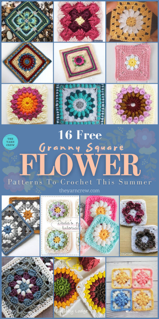 16 Free Flower Granny Square Patterns To Crochet This Summer - PIN3