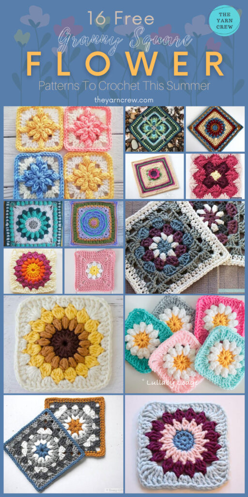16 Free Flower Granny Square Patterns To Crochet This Summer - PIN2