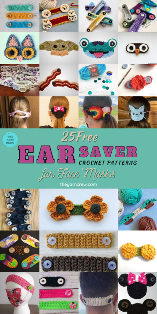 25 Free Ear Saver Crochet Patterns For Face Masks - PIN2