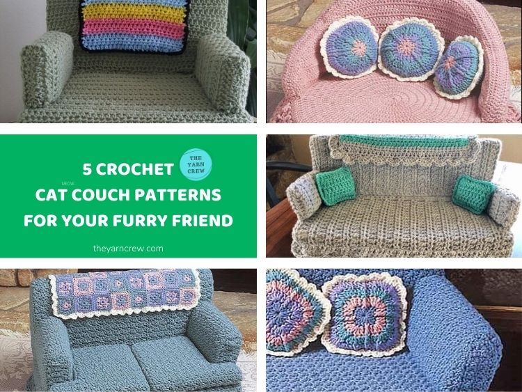 5 Crochet Cat Couch Patterns For Your Furry Friend FACEBOOK POSTER