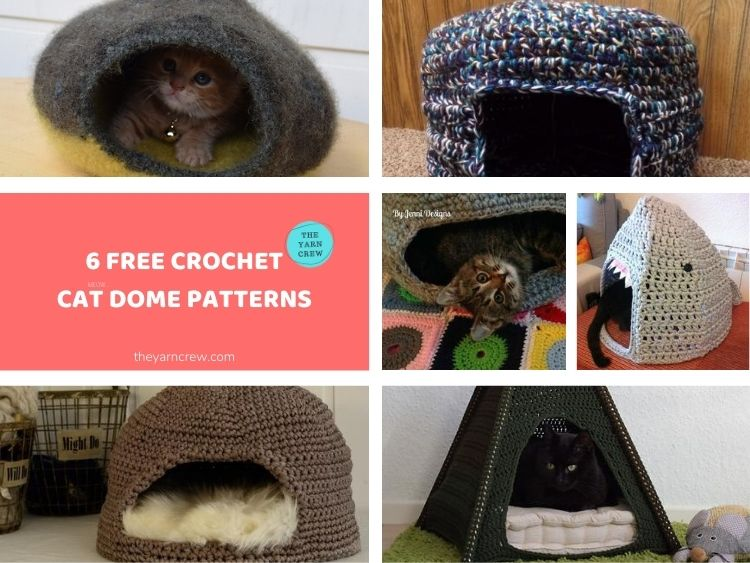 6 Free Crochet Cat Dome Patterns FACEBOOK POSTER