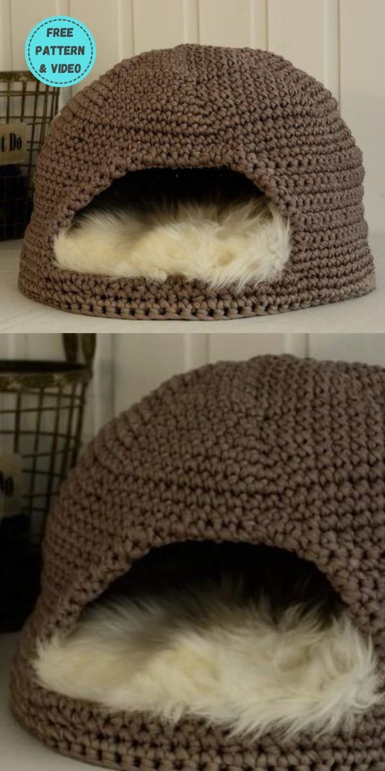 6 Free Crochet Cat Dome Patterns PIN POSTER 3
