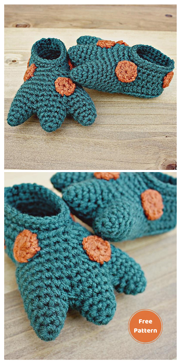 Crochet Dinosaur Baby Booties - 13 Free Dinosaur Crochet Patterns For Your Kids