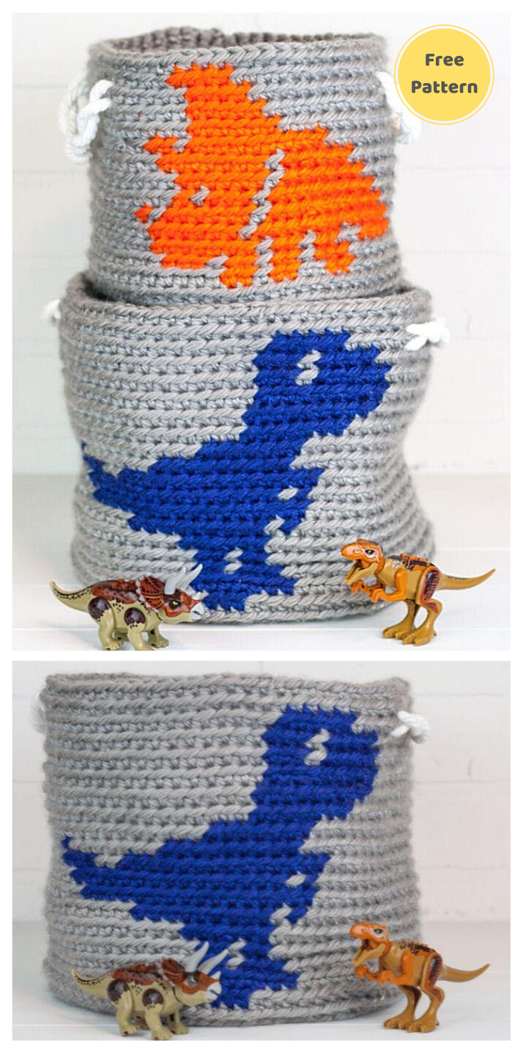 Crochet Dinosaur Basket_ Raptor - 13 Free Dinosaur Crochet Patterns For Your Kids