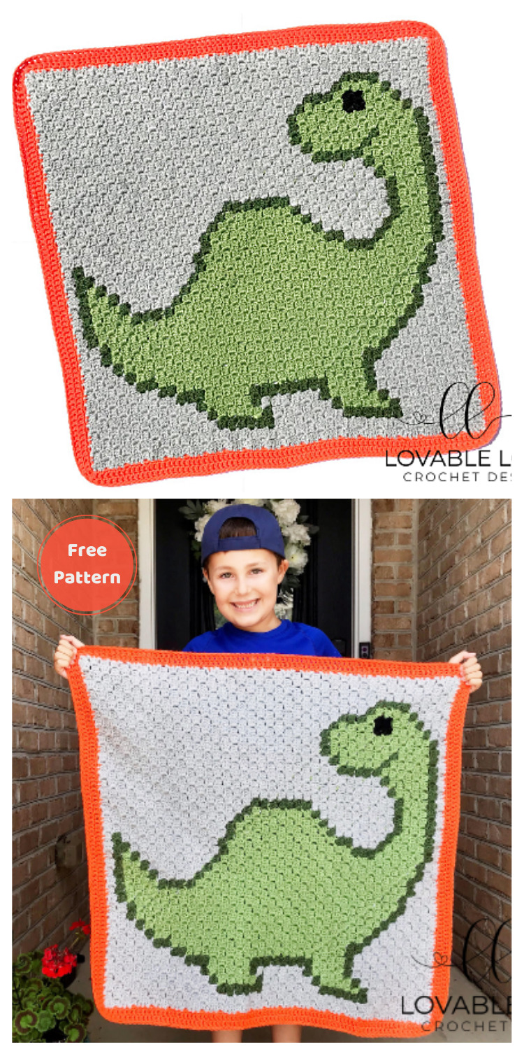Crochet Dinosaur Blanket - 13 Free Dinosaur Crochet Patterns For Your Kids