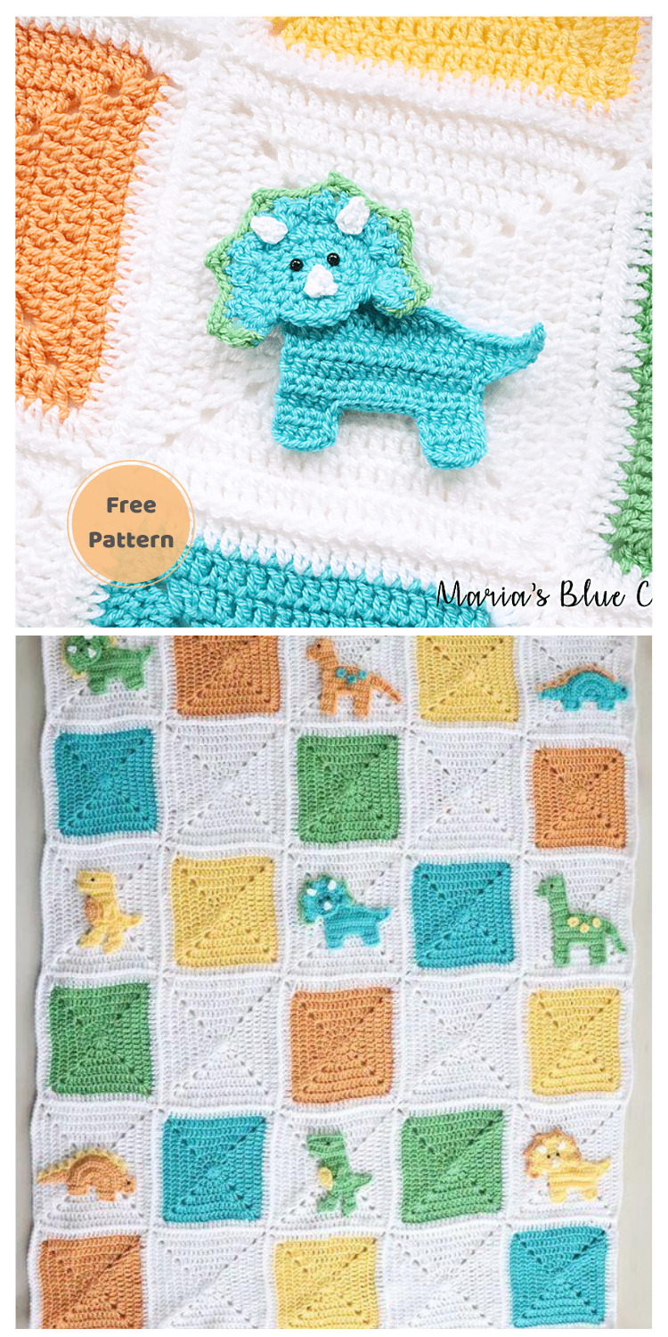Crochet Dinosaur Granny Square Blanket - 13 Free Dinosaur Crochet Patterns For Your Kids