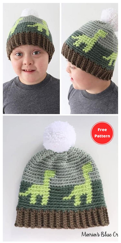 Crochet Dinosaur Hat for Kids - 13 Free Dinosaur Crochet Patterns For Your Kids