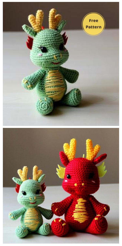Crochet Dragon Amigurumi - 20 Free Amigurumi Dragon Dolls Crochet Patterns