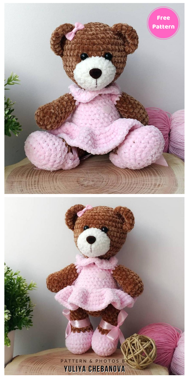Crochet Sweet Bear in Dress - 12 Free Cute Amigurumi Bear Crocheted Toys
