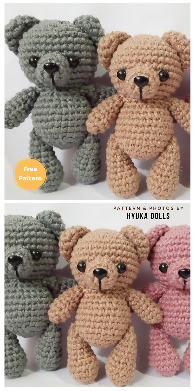 Chubby Bear Dolls - 12 Free Cute Amigurumi Bear Crocheted Toys