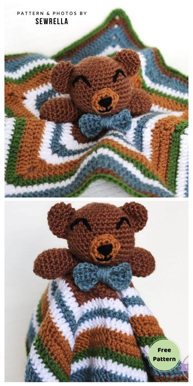 The Cuddliest Crochet Bear Lovey - 12 Free Teddy Bear Baby Loveys