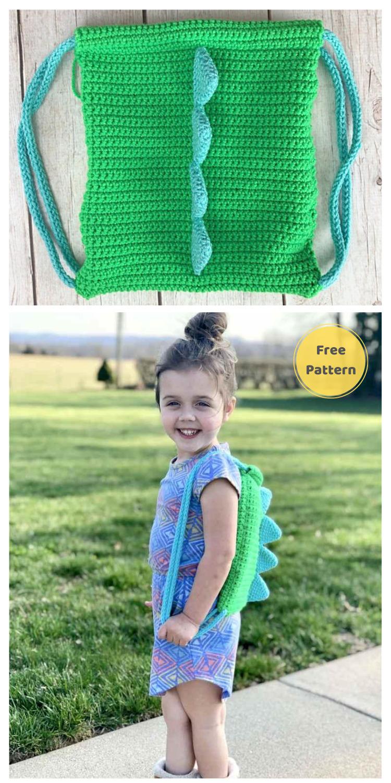 Dinosaur Backpack - 13 Free Dinosaur Crochet Patterns For Your Kids