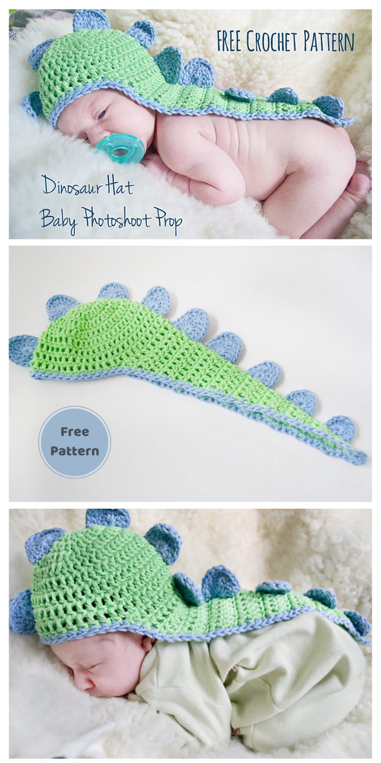 Baby's Dino Hat with Cape - 13 Free Dinosaur Crochet Patterns For Your Kids