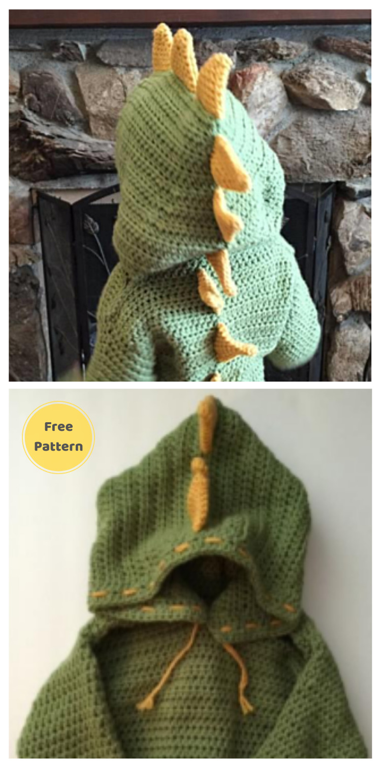 Dinosaur Hooded Sweater with Spikes - 13 Free Dinosaur Crochet Patterns For Your Kids