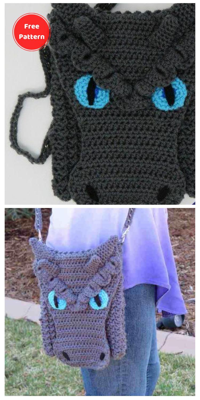 Dragon Cross Body Bag - 10 Free Dragon Inspired Crochet Patterns You Can Wear