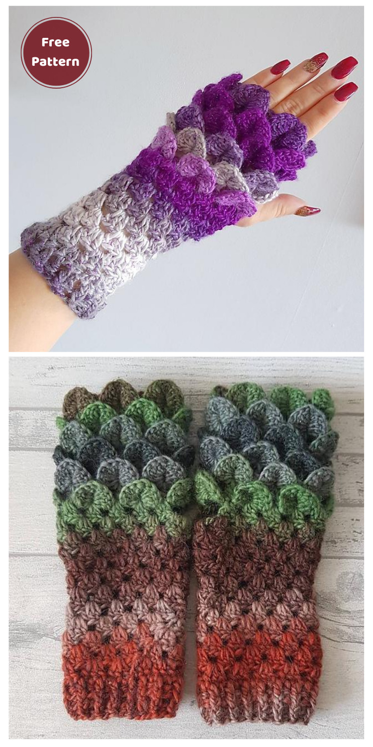 Dragon Scale Fingerless Mitts - 10 Free Dragon Inspired Crochet Patterns You Can Wear