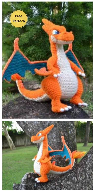Mega Charizard - 20 Free Amigurumi Dragon Dolls Crochet Patterns