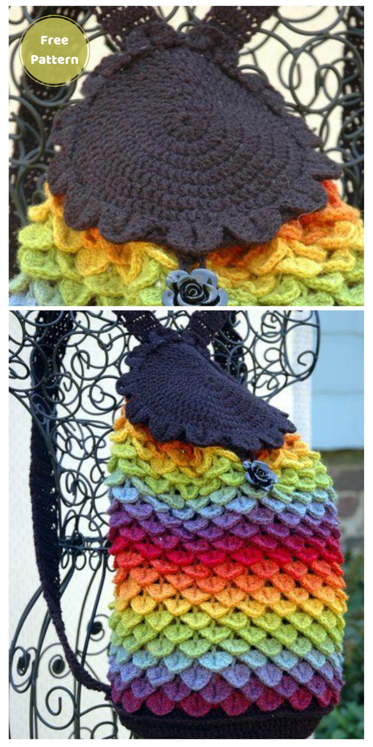 Rainbow Dragon Backpack - 10 Free Dragon Inspired Crochet Patterns You Can Wear