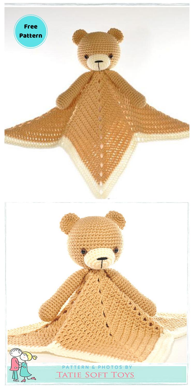 Lovey Blanket Bear Security Blanket Teddy - 12 Free Teddy Bear Baby Loveys