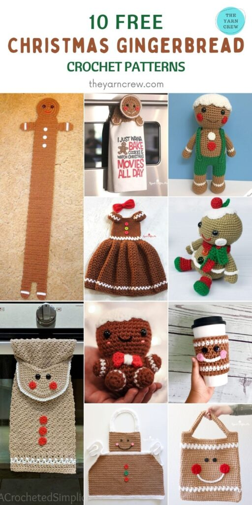 10 FREE Christmas GINGERBREAD CROCHET PATTERNS - PIN3