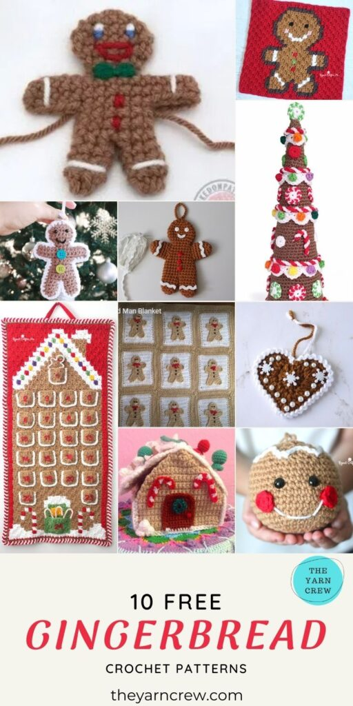 10 Free Awesome Gingerbread Crochet Patterns For Your Home - PIN1