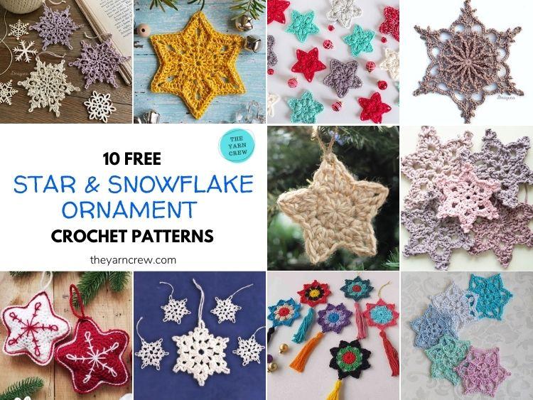 10 Free Christmas Star & Snowflake Ornaments Crochet Patterns - FB POSTER