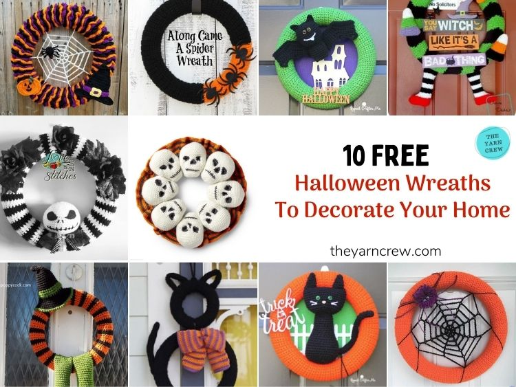 10 Free Crochet Halloween Wreaths To Decorate Your Home - FB POSTER