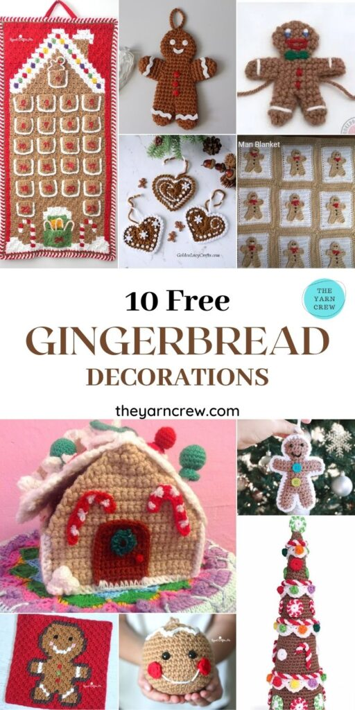 10 Free Gingerbread Crochet Patterns For Your Home - PIN2