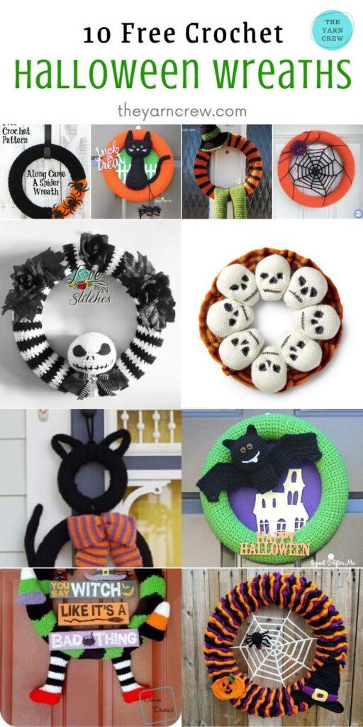10 Free Spooky Halloween Wreaths Crochet Patterns - Pin 1