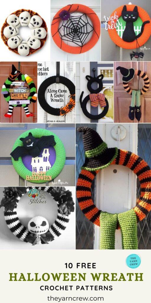 10 Free Terrifying Halloween Wreath Crochet Patterns - Pin 3
