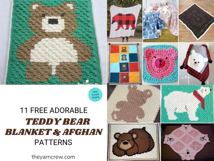 11 Free Super Cute Teddy Bear Blankets & Afghans - FB POSTER