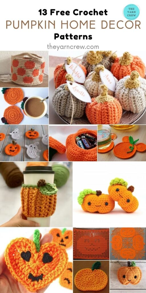 13 Free Crochet Pumpkin Patterns For Your Home - Pin 1