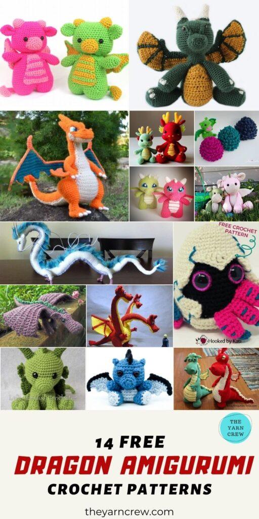 14 Free Amazing Amigurumi Dragon Dolls Crochet Patterns - PIN1